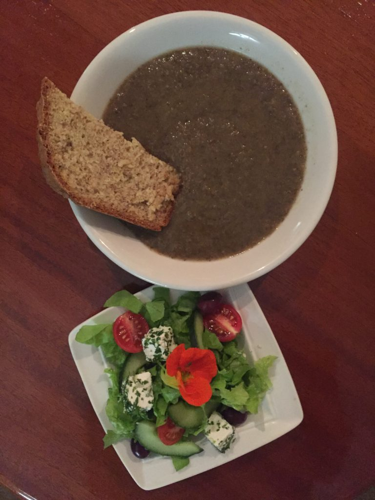 The veggie soup on the first night was so delicious and is served with almond bread. The food philosophy at Brookdale is to serve food that is free from processed sugar, caffeine and alcohol.