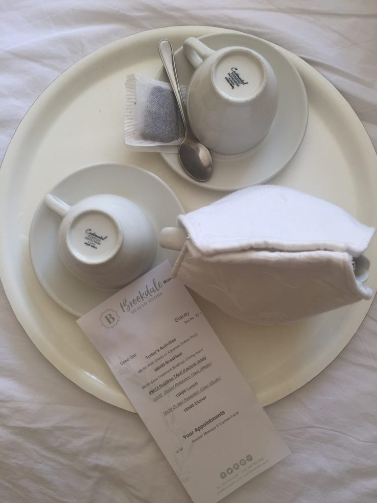 Each morning, your tea tray has the schedule for the day with a list of activities and your treatments booked.