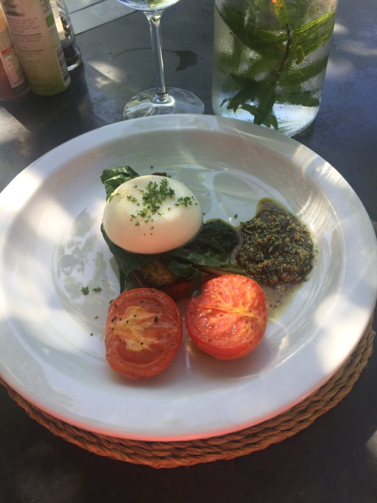 The breakfast serving seemed so small on the second morning but it was just right! Loaded with a good balance of macro and micro nutrients and the pesto was divine!